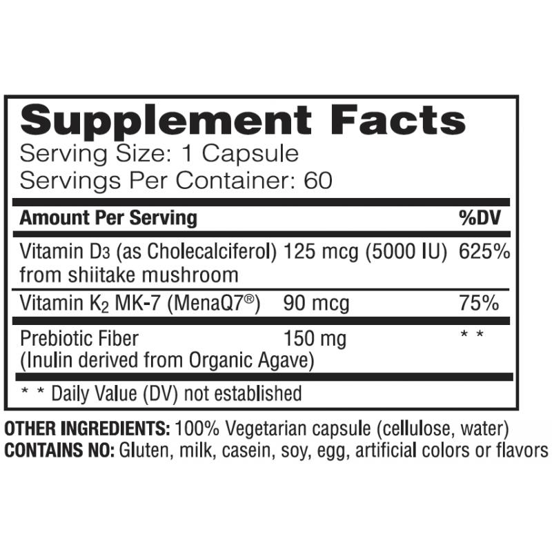 Enzymedica Vegan Vitamin D3 + K2 60 Capsules